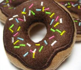 Chocolate Frosted Donuts with Sprinkles Catnip Cat Toy